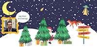Julbild med författaren Mårten Melin i en ram.