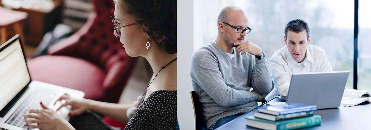 Personer som tittar på datorskärm