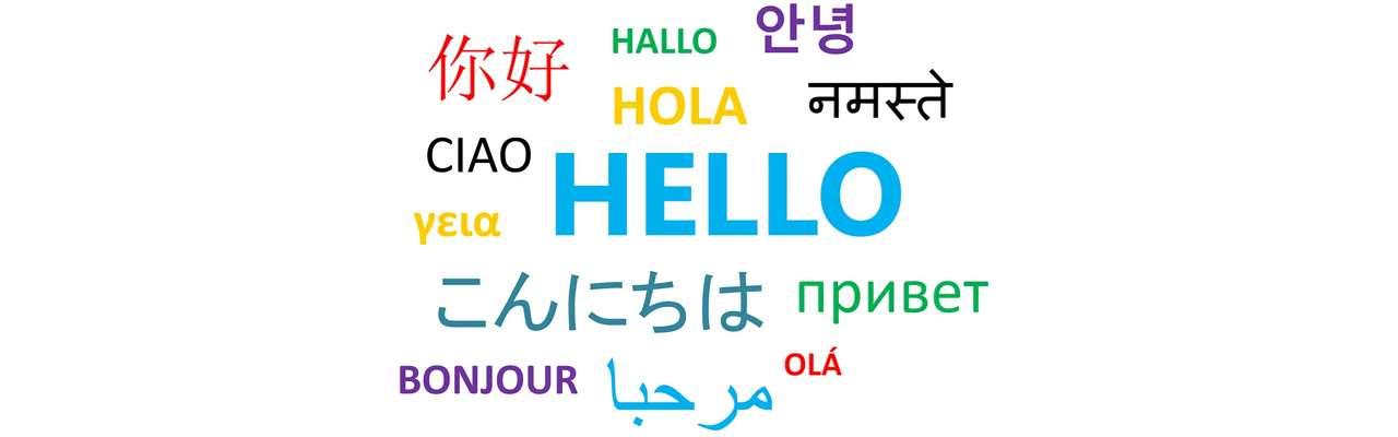 Ordet hej på flera olika språk