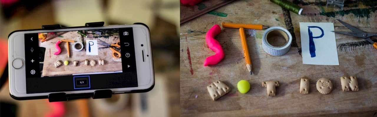 Telefon med ordet stop motion på