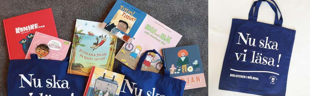 kassar och böcker som ingår i högläsningskassar